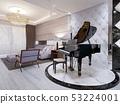 Beautiful piano in the luxury lounge. Purple sofa 53224001