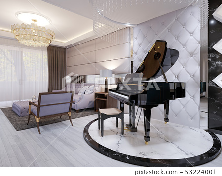 Beautiful piano in the luxury lounge. Purple sofa 53224001