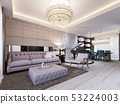 Modern classic living room with leather wall and 53224003