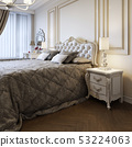 King-size bed in bright bedroom with big window. 53224063