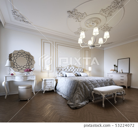 Bedroom interior design in a modern classic style. - Stock ...