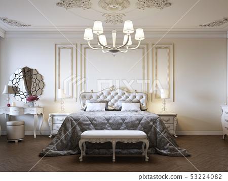Classic style luxury bedroom interior in beige 53224082