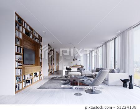 Contemporary interior has a bright living room 53224139