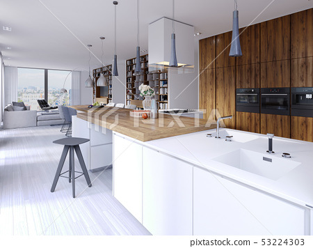 Bright kitchen contemporary style overlooking the 53224303