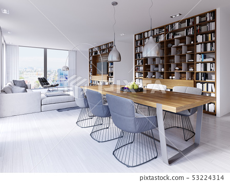 dining area with a modern designer table with six 53224314