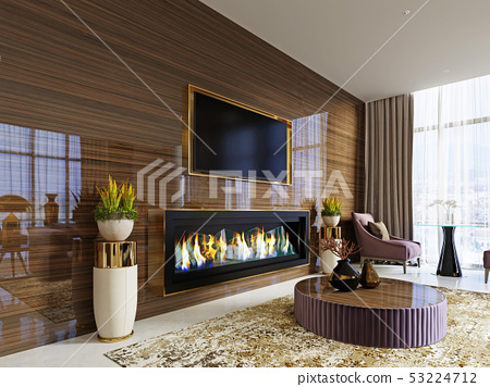 luxury designer lobby hotel with a fireplace and a 53224712