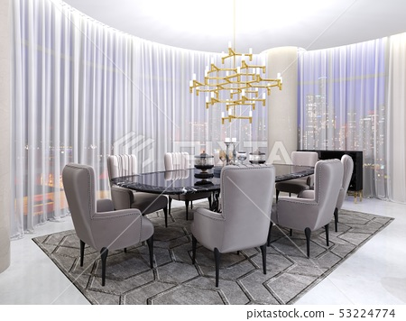 Art deco room for negotiations, with a table and 53224774