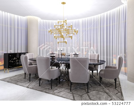 Art deco room for negotiations, with a table and 53224777