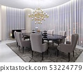 Large dining table in the hotel for eight people 53224779