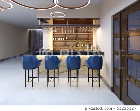 A small bar in the bar area with a seating area. 53225327