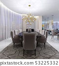 Large dining table in the hotel for eight people 53225332