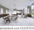 Training room with round tables and brown 53225354