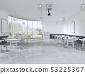 Lecture chairs and desk in a class room with 53225367