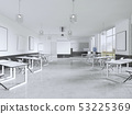 Lecture chairs and desk in a class room with 53225369