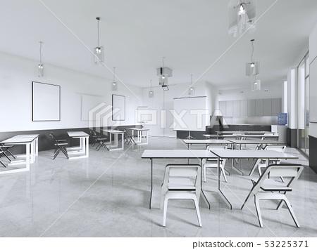Furniture in empty high school classroom. 53225371