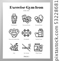 Exercise gym icons Line pack 53228681