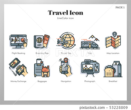 Travel icons LineColor pack 53228809