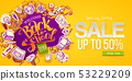 Back to school sale apple and paper icons 53229209