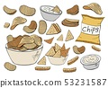 Vector potato chips collection isolated on white 53231587