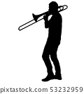 Silhouette of musician playing the trombone on a 53232959