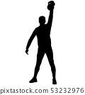 Silhouette muscular man holding kettle bell 53232976