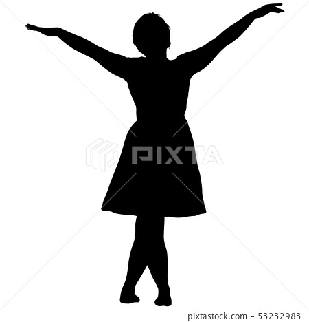 Black silhouette woman standing, people on white 53232983