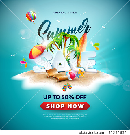 Summer Sale Design with Beach Ball and Exotic Palm Tree on Tropical Island Background. Vector 53233632