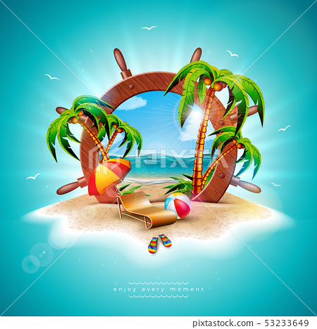 Vector Summer Holiday Illustration with Ship Steering Wheel and Exotic Palm Leaves on Tropical 53233649