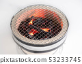 japanese grill with burning charcoal closeup 53233745