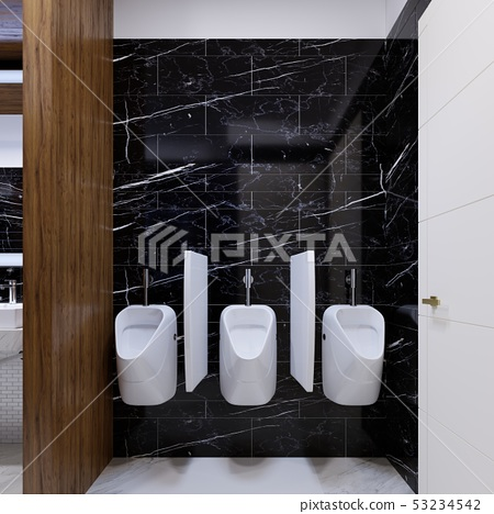 Urinals in a public toilet on a marble wall. 53234542