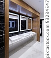 Wooden niche with mirrors, lights and sinks on the 53234547