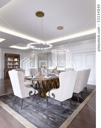 Luxurious Dining Room With A Large Table And Soft Stock Illustration 53234840 Pixta