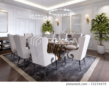 Large dining table for eight people in the dining 53234879