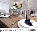 Luxury served table in the classic dining room. 53234886