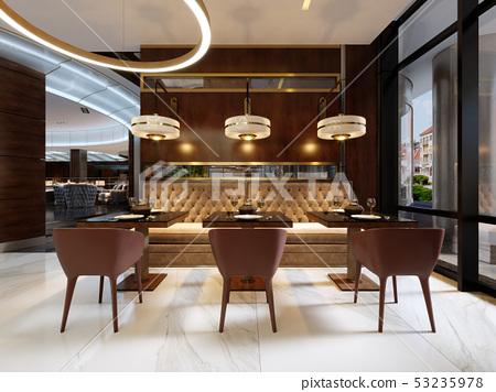 Cozy luxury interior of restaurant, Comfortable 53235978