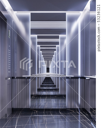 Futuristic design of an elevator cabin with 53236121