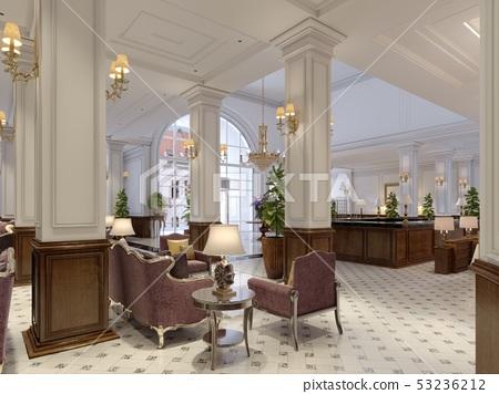 Classic styled hotel lobby interior. 53236212