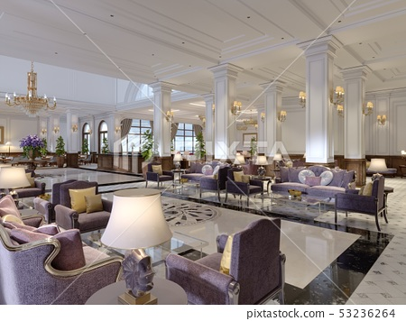 Classic styled hotel lobby interior. 53236264