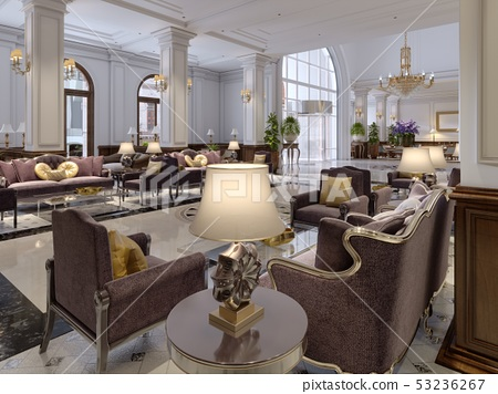 Hotel lobby in classic style with luxurious art 53236267