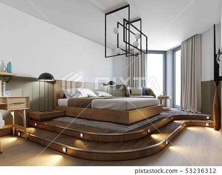 Modern rustic bedroom design and a bed on a wooden 53236312