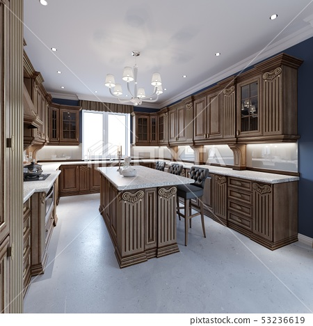 Classic Kitchen Interior Design Ideas Oak Wood Stock Illustration 53236619 Pixta