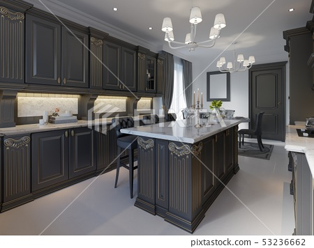 Modern Classic Kitchen Design With Black Cabinets Stock Illustration 53236662 Pixta