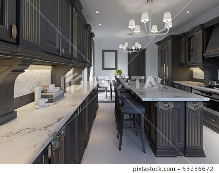 Modern Classic Kitchen Design With Black Cabinets Stock Illustration 53236672 Pixta