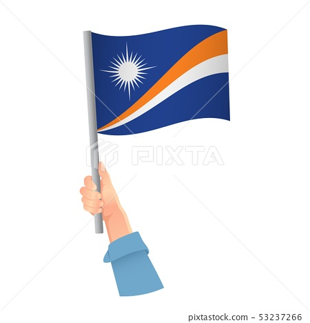 Marshall Islands flag in hand icon 53237266