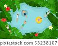 游泳在热带叶子中的人们 53238107