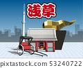 Vector illustration design layout ai eps tourism Japan Tokyo Edo Asakusa Kaminarimon rickshaw 53240722