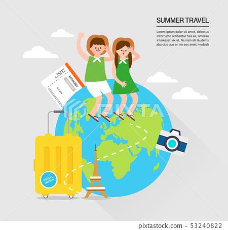夏天飛機假期海外例證背景流行音樂 53240822