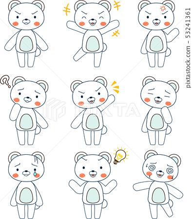 동물 북극곰 귀여운 전신 캐릭터 반응 포즈 표정 일러스트 세트 53241361