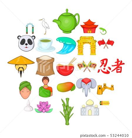 Spirit of China icons set, cartoon style 53244010
