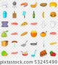 Bbq food icons set, cartoon style 53245490